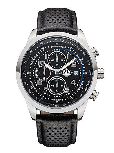 Sailor Herren Armbanduhr Chronograph Edition Modell Sydney SL201 1003 mit Lederarmband Quarzuhr mit analoger Anzeige Die Uhr fuer den Mann von New York bis Melbourne Chronograph klassiker