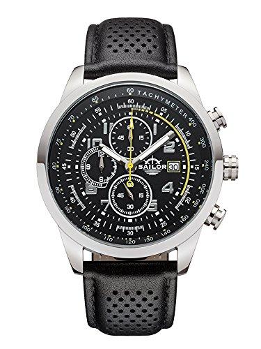 Sailor Herren Armbanduhr Chronograph Edition Modell Sydney SL201 1002 mit Lederarmband Quarzuhr mit analoger Anzeige Die Uhr fuer den Mann von New York bis Melbourne Chronograph Klassiker