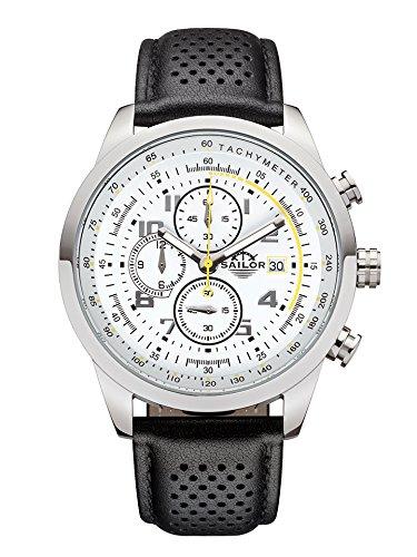 Sailor Herren Armbanduhr Chronograph Edition Modell Sydney SL201 1005 mit Lederarmband Quarzuhr mit analoger Anzeige Die Uhr fuer den Mann von New York bis Melbourne Chronograph Klassiker