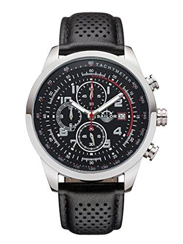 Sailor Herren Armbanduhr Chronograph Edition Modell Sydney SL201 1001 mit Lederarmband Quarzuhr mit analoger Anzeige Die Uhr fuer den Mann von New York bis Melbourne Chronograph Klassiker
