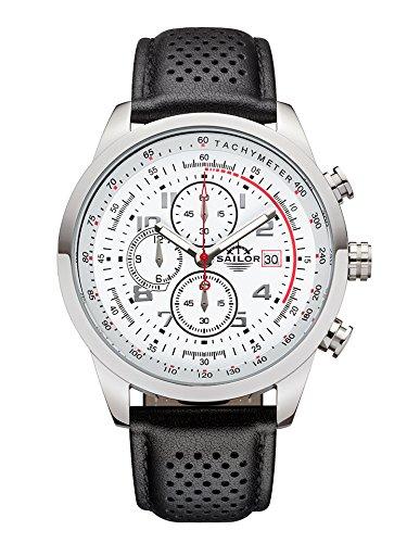 Sailor Herren Armbanduhr Chronograph Edition Modell Sydney SL201 1004 mit Lederarmband Quarzuhr mit analoger Anzeige Die Uhr fuer den Mann von New York bis Melbourne Chronograph Klassiker