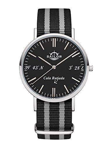 Sailor Herren und Damen Armbanduhr Limited Edition Model Cala Ratjada in silber schwarz mit Nylonarmband Quarzuhr mit analoger Anzeige Exclusives Mallorca Accessorie 2017