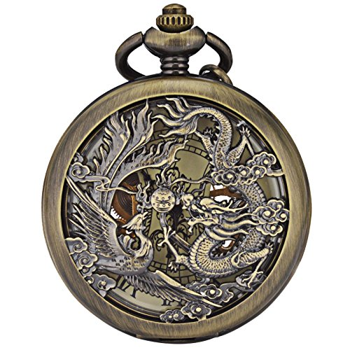 Smart DEAL Retro Stil Dragon Phoenix Muster Fall Herren Mechanische Kette Taschenuhr Geschenk