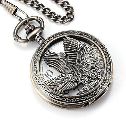 Smart DEAL Eagle Design Taschenuhr Kette Quarzwerk arabische Ziffern Haelfte Hunter fuer Eagle Scout