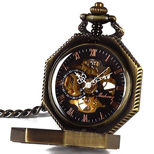 Smart DEAL Herren s Magic Taschenuhr mit Kette Gold Ton Octagon Fall Steampunk mechanische Bewegung
