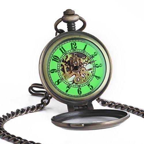 Smart DEAL Vintage Bronze Fall Herren Taschenuhr Luminous Mechanische Hand Wind Skelett