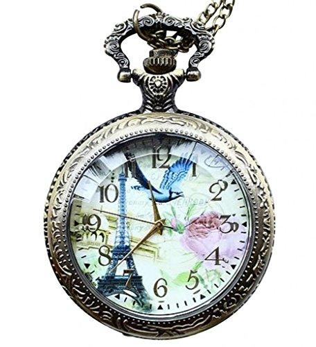 Unendlich U Antique Eiffeltrum mit Voegel und Rose mit goss Quarz Taschenuhr mit arabischen ziffern Bronze