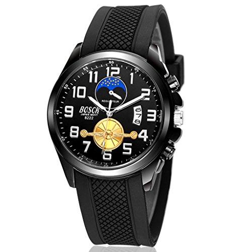 Unendlich U Neu Design Schwarz Zifferblatt Silikon Armband Wasserdicht Analog Quarz Uhr