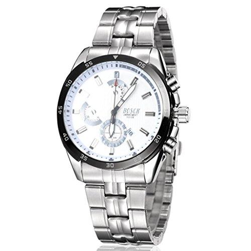 Unendlich U Fashion Sport Herren Armbanduhr Weiss Zifferblatt mit Kalender Edelstahl Armband Wasserdicht Analog Quarz Uhr