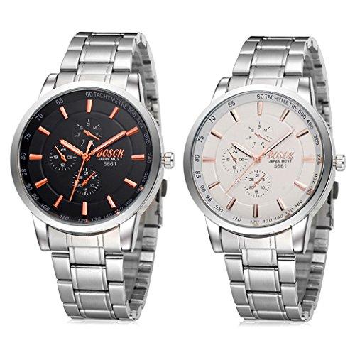 Unendlich U Fashion Schwarz Orange Zifferblatt mit Chronograph Edelstahl Armband Wasserdicht Analog Quarz Uhren 2 Stueck