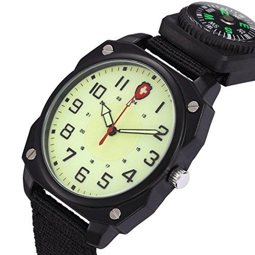 Unendlich U Armee Stil Unisex Quarzarmbanduhr Schwarz Nylon Armband Wasserdicht Armbanduhr mit Kompass Leuchtzifferblatt fuer Wandern Klettern Expedition Camping