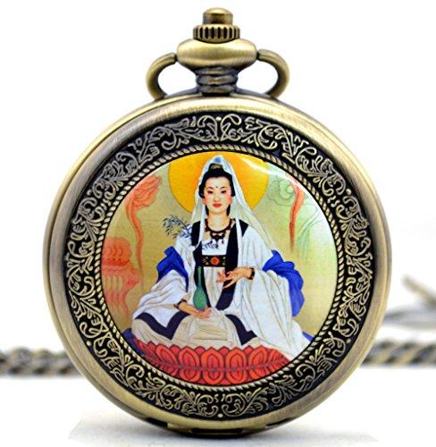Unendlich U Avalokitesvara Bodhisattva Retro Handaufzug Mechanische Taschenuhr Hohle Skelett Kettenuhr Pullover Halskette Bronze