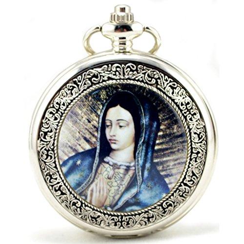 Unendlich Unique Madonna Maria Christliche Statue Retro Handaufzug Mechanische Taschenuhr Hohle Skelett Kettenuhr Pullover Halskette Silber