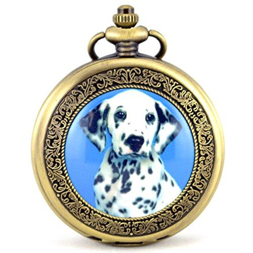 Unendlich U Luxus Dalmatinisch Hund Retro Handaufzug Mechanische Taschenuhr Hohle Skelett Kettenuhr Pullover Halskette Bronze