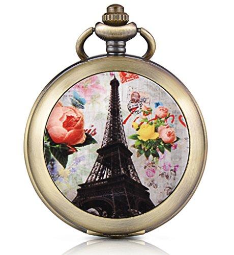 Unendlich U Retro Paris Eiffelturm Rose Foto Medaillon Handaufzug Mechanische Taschenuhr Weisses Zifferblatt Skelettuhr Pullover Halskette beide Ketten
