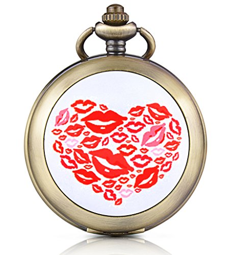 Unendlich U Einzigartiges Herz Lippendruck Foto Medaillon Handaufzug Mechanische Taschenuhr Weisses Zifferblatt Skelettuhr Pullover Halskette beide Ketten
