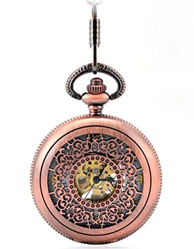 Unendlich U Fashion Retro Handaufzug Mechanische Taschenuhr Gravierung Hohle Skelett Kettenuhr Pullover Halskette Rot Bronze