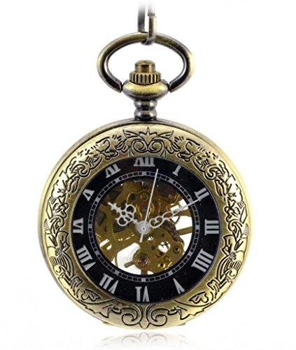 Unendlich U Retro Handaufzug Mechanische Taschenuhr Lupe Skelett Uhr Pullover Halskette Edelstahl Legierung Kettenuhr Bronze