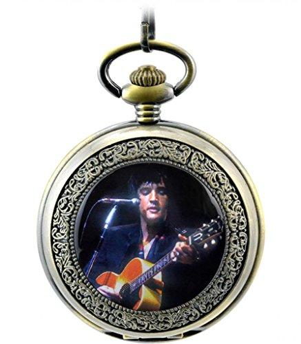 Unendlich U Retro Handaufzug Mechanische Taschenuhr Foto von King of Rock Elvis Presley Hohle Skelett Kettenuhr Pullover Halskette Bronze