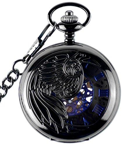 Unendlich U Fashion Adler Phoenixe Retro Handaufzug Mechanische Taschenuhr Hohle Skelett Kettenuhr Pullover Halskette Schwarz Blau