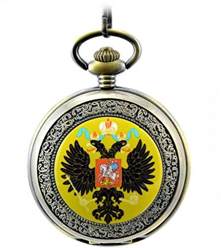 Unendlich U Retro Handaufzug Mechanische Taschenuhr Emblem von Russland Hohle Skelett Kettenuhr Pullover Halskette Bronze