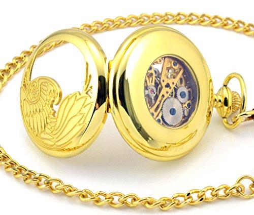Unendlich U Luxus Adler Phoenixe Retro Handaufzug Mechanische Taschenuhr Skelett Kettenuhr Pullover Halskette Golden