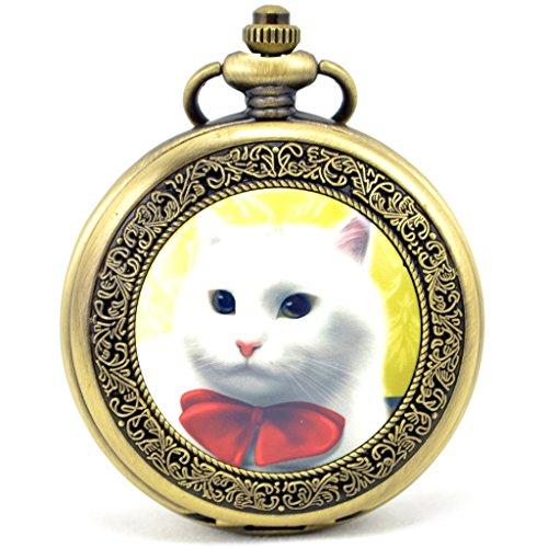 Unendlich U Suess Katze Kaetzchen mit Krawatte Retro Handaufzug Mechanische Taschenuhr Hohle Skelett Kettenuhr Pullover Halskette Bronze