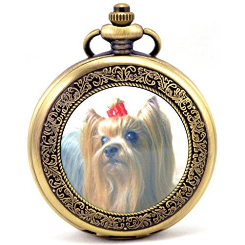 Unendlich U Seidiger Terrier Hund Retro Handaufzug Mechanische Taschenuhr Hohle Skelett Kettenuhr Pullover Halskette Bronze