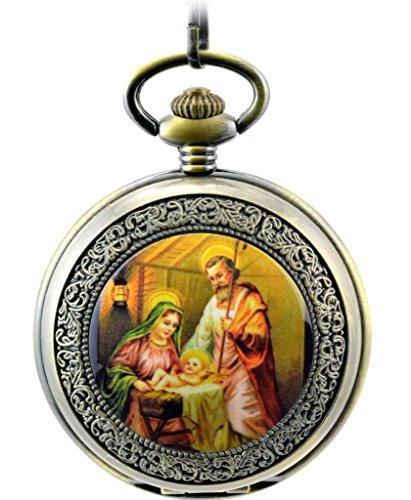 Unendlich U Jesus Christ und Madonna Maria Retro Handaufzug Mechanische Taschenuhr Hohle Skelett Kettenuhr Pullover Halskette Bronze