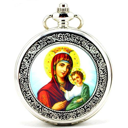 Unendlich U Madonna Maria und Jesus Retro Handaufzug Mechanische Taschenuhr Hohle Skelett Kettenuhr Pullover Halskette Silber