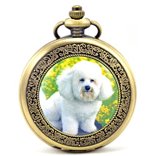 Unendlich U Suesser Kleiner Hund Retro Handaufzug Mechanische Taschenuhr Hohle Skelett Kettenuhr Pullover Halskette Bronze
