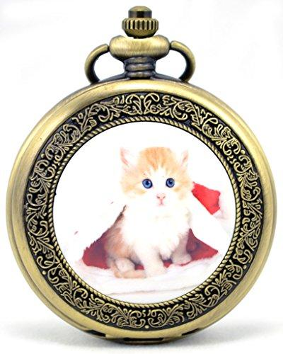 Unendlich U Fashion Suess Katze Kaetzchen Retro Handaufzug Mechanische Taschenuhr Hohle Skelett Kettenuhr Pullover Halskette Bronze