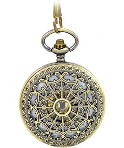 Unendlich U Retro Handaufzug Mechanische Taschenuhr Doppel Sprungdeckel Hohle Openwork Skelett Kettenuhr Pullover Halskette Bronze