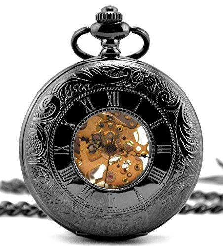 Unendlich U Retro Handaufzug Mechanische Taschenuhr Arabisch Duale Zeitanzeigen Skelett Kettenuhr Pullover Halskette Schwarz