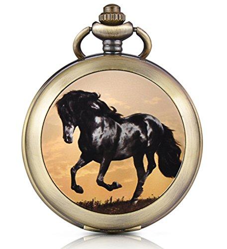 Unendlich U Schwarzes Pferd Ross Handaufzug Mechanische Taschenuhr Foto Medaillon Weisses Zifferblatt Skelettuhr Pullover Halskette beide Ketten