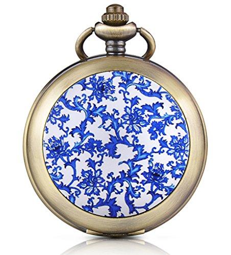 Unendlich U Blaue Blumen Handaufzug Mechanische Taschenuhr Weisses Zifferblatt Skelettuhr Foto Medaillon Pullover Halskette beide Ketten