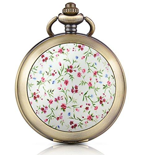 Unendlich U Rosa Blumen Foto Medaillon Handaufzug Mechanische Taschenuhr Weisses Zifferblatt Skelettuhr Pullover Halskette beide Ketten