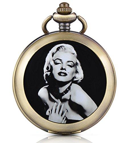 Unendlich U Sexy Marilyn Monroe Handaufzug Mechanische Taschenuhr Foto Medaillon Weisses Zifferblatt Skelettuhr Pullover Halskette beide Ketten