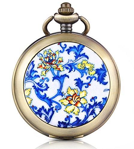 Unendlich U Blaue Gelbe Blumen Foto Medaillon Handaufzug Mechanische Taschenuhr Weisses Zifferblatt Skelettuhr Pullover Halskette beide Ketten