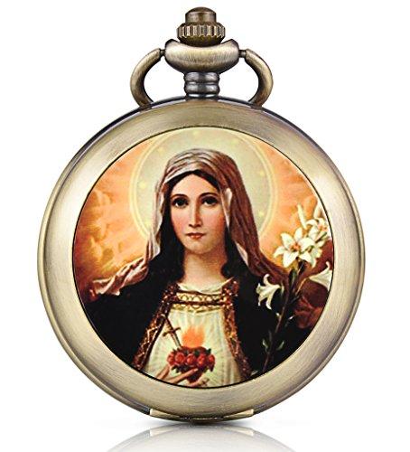 Unendlich U Jungfrau Maria Handaufzug Mechanische Taschenuhr Schwarzes Zifferblatt Skelettuhr Foto Medaillon Pullover Halskette beide Ketten