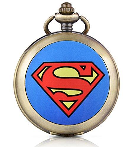 Unendlich U Superman Batman Spiderman Handaufzug Mechanische Taschenuhr Schwarzes Zifferblatt Skelettuhr Pullover Halskette Foto Medaillon beide Ketten