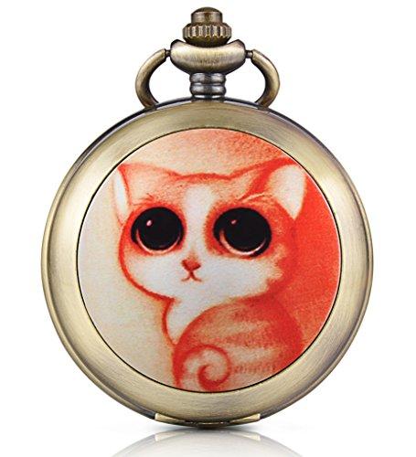 Unendlich U Niedlich Katze Kaetzchen Foto Medaillon Handaufzug Mechanische Taschenuhr Weisses Zifferblatt Skelettuhr Pullover Halskette beide Ketten
