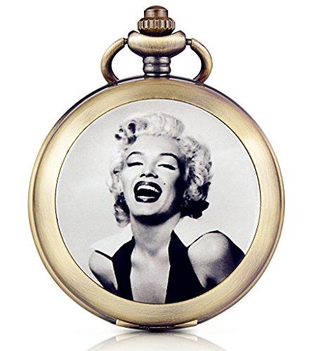 Unendlich U Marilyn Monroe Retro Handaufzug Mechanische Taschenuhr Weisses Zifferblatt Skelettuhr Pullover Halskette Foto Medaillon beide Ketten
