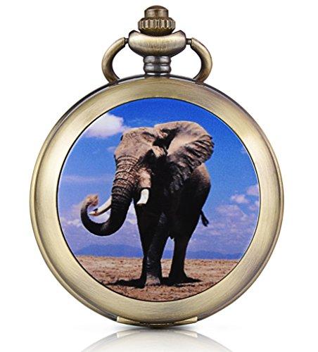 Unendlich U Elefant Foto Medaillon Handaufzug Mechanische Taschenuhr Schwarzes Zifferblatt Skelettuhr Pullover Halskette beide Ketten