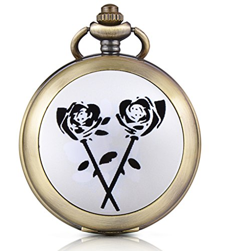 Unendlich U Schwarze Rose Foto Medaillon Handaufzug Mechanische Taschenuhr Weisses Zifferblatt Skelettuhr Pullover Halskette beide Ketten