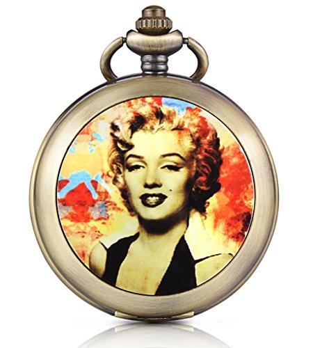 Unendlich U Marilyn Monroe Foto Medaillon Handaufzug Mechanische Taschenuhr Weisses Zifferblatt Skelettuhr Pullover Halskette beide Ketten