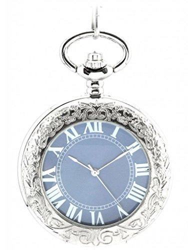 Unendlich U Fashion Retro Handaufzug Mechanische Taschenuhr Lupe Hohle Skelett Kettenuhr Pullover Halskette Blaues Zifferblatt Silber