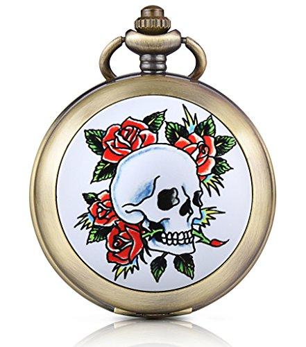 Unendlich U Totenkopf Schaedel Rose Foto Medaillon Handaufzug Mechanische Taschenuhr Schwarzes Zifferblatt Skelettuhr Pullover Halskette beide Ketten