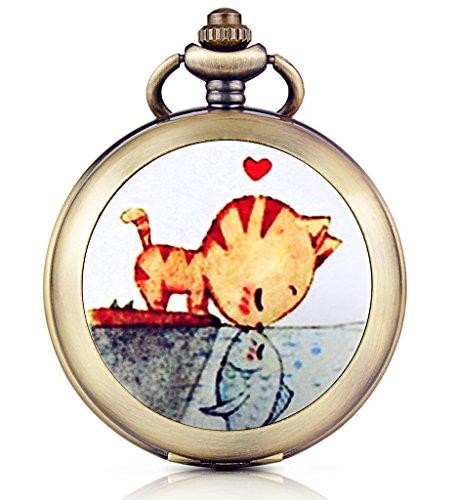 Unendlich U Kuss Liebe von Katze und Fisch Foto Medaillon Handaufzug Mechanische Taschenuhr Weisses Zifferblatt Skelettuhr Pullover Halskette beide Ketten