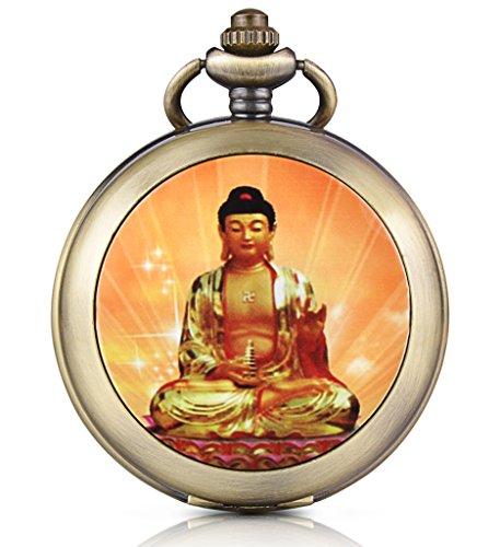 Unendlich U Retro Buddha Tathagata Handaufzug Mechanische Taschenuhr Weisses Zifferblatt Skelettuhr Pullover Halskette Foto Medaillon beide Ketten